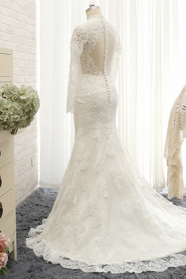 BMbridal Modest Longsleeves White Mermaid Wedding Dresses Satin Lace Bridal Gowns With Appliques Online_3
