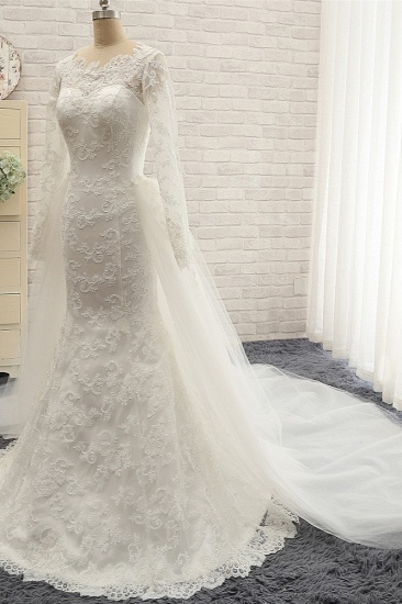BMbridal Chic White Satin Mermaid Wedding Dresses Jewel Longsleeves With Appliques On Sale_4
