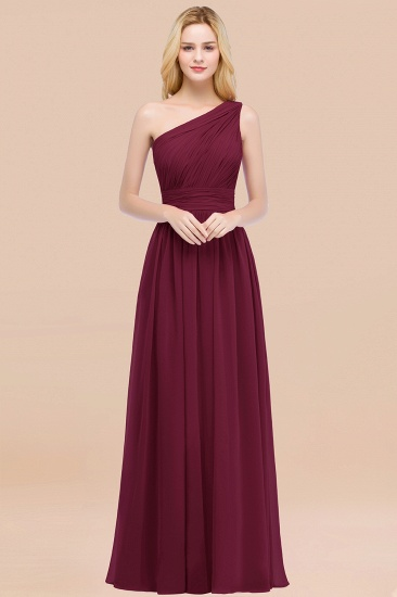 Chic One-shoulder Sleeveless Burgundy Chiffon Bridesmaid Dresses Online_44