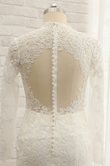 BMbridal Modest Longsleeves White Mermaid Wedding Dresses Satin Lace Bridal Gowns With Appliques Online_5