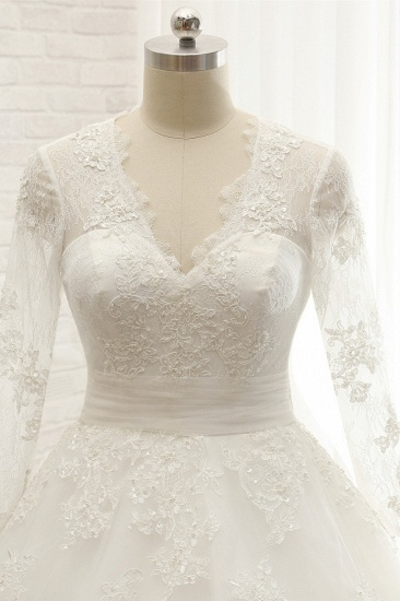 Affordable V neck Longsleeves Tulle Wedding Dresses A line Lace Bridal Gowns With Appliques On Sale_5