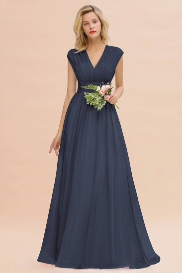Elegant Chiffon V-Neck Ruffle Long Bridesmaid Dresses Affordable_39