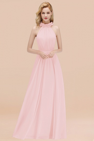 Modest High-Neck Halter Ruffle Chiffon Bridesmaid Dresses Affordable_3