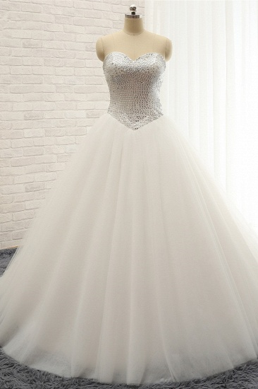 BMbridal Stylish Sweatheart White Sequins Wedding Dresses A line Tulle Bridal Gowns On Sale_1