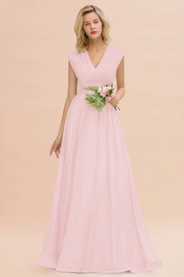 Elegant Chiffon V-Neck Ruffle Long Bridesmaid Dresses Affordable_3