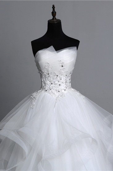 Gorgeous Strapless Tulle Layers Wedding Dress Appliques Beadings Bridal Gowns Online_6
