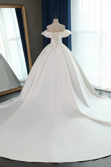 BMbridal Stylish Strapless Sweetheart Satin Wedding Dress Ruffles Sleeveless Ball Gowns Bridal Gowns On Sale_3