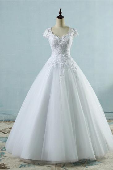Elegant V-Neck Tull Lace White Wedding Dress Short Sleeves Appliques Bridal Gowns Online_1