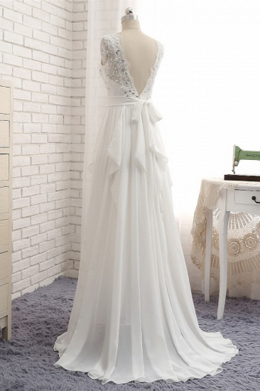 BMbridal Affordable Jewel White Chiffon Ruffle Wedding Dress Sleeveless Appliques Bridal Gowns with Beadings_5