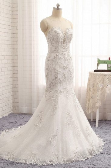 BMbridal Elegant White Sleeveless Jewel Wedding Dresses With Appliques Mermaid Lace Bridal Gowns Online_4