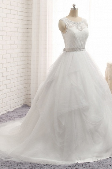 BMbridal Affordable White Sleeveless Tulle Wedding Dresses With Appliques A-line Jewel Bridal Gowns Online_4