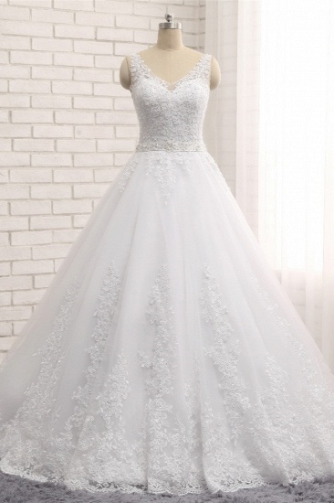 BMbridal Gorgeous V neck Straps Sleeveless Wedding Dresses White A line Lace Bridal Gowns With Appliques Online_1
