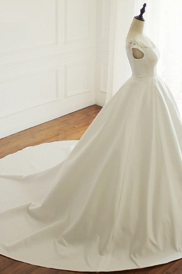 Simple A-Line Satin Jewel Ruffle Wedding Dress Tulle Lace Appliques Sleeveless Bridal Gowns On Sale_4