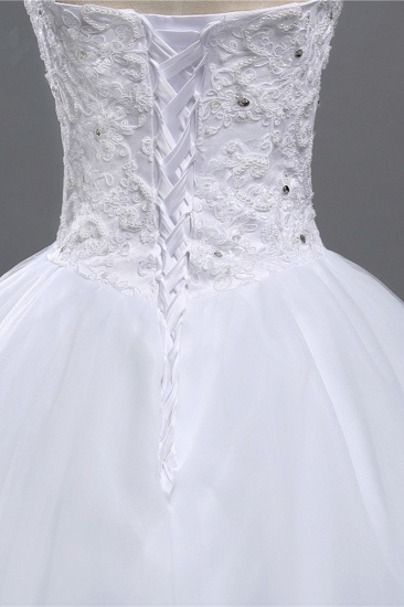 BMbridal Chic Strapless Sweetheart Tulle Lace Wedding Dresses Sleeveless Appliques Bridal Gowns with Beadings_6