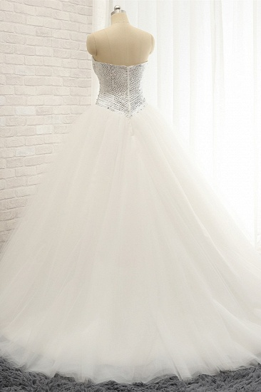 BMbridal Stylish Sweatheart White Sequins Wedding Dresses A line Tulle Bridal Gowns On Sale_3