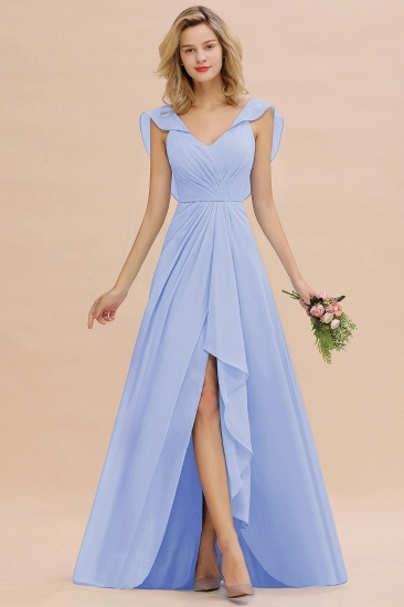 Modest Hi-Lo V-Neck Ruffle Long Bridesmaid Dress with Slit_22