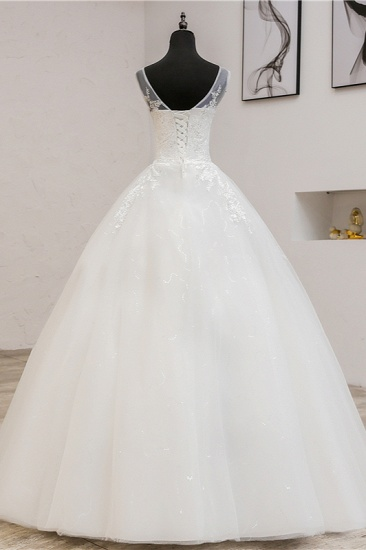 BMbridal Glamorous Sweetheart Tulle Lace Wedding Dress Ball Gown Sleeveless Appliques Ball Gowns On Sale_3