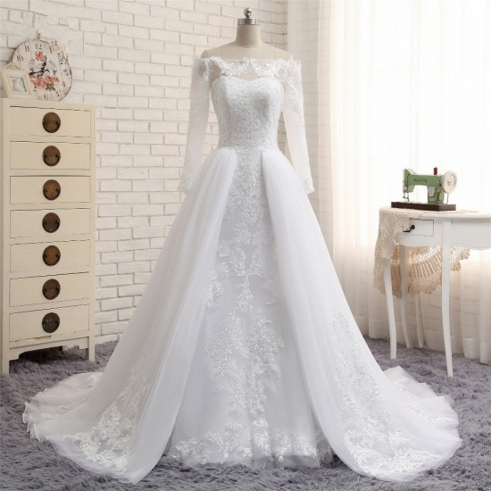Unique Bateau Longsleeves A-line Wedding Dresses With Appliques White Tulle Bridal Gowns On Sale_6