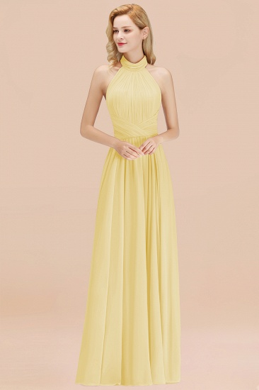Gorgeous High-Neck Halter Backless Bridesmaid Dress Dusty Rose Chiffon Maid of Honor Dress_18