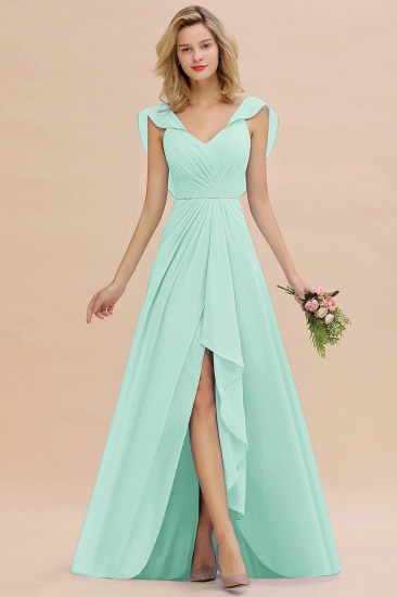 BMbridal Modest Hi-Lo V-Neck Ruffle Long Bridesmaid Dress with Slit_36