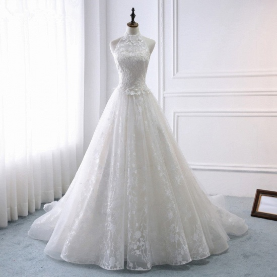 Elegant A-Line Halter Tulle White Wedding Dress Sleeveless Appliques Bridal Gowns On Sale_8