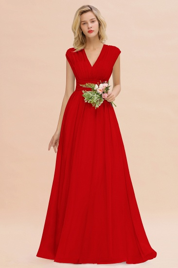 Elegant Chiffon V-Neck Ruffle Long Bridesmaid Dresses Affordable_8