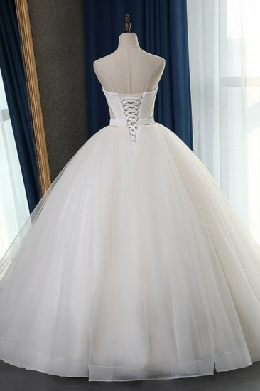Sexy Strapless Sweetheart Wedding Dress Ball Gown Sleeveless White Tulle Bridal Gowns On Sale_3