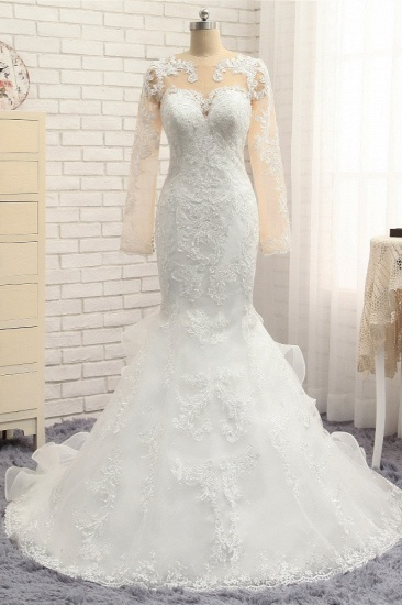 BMbridal Elegant Jewel Mermaid Lace Wedding Dress Long Sleeves White Appliques Bridal Gowns On Sale_1