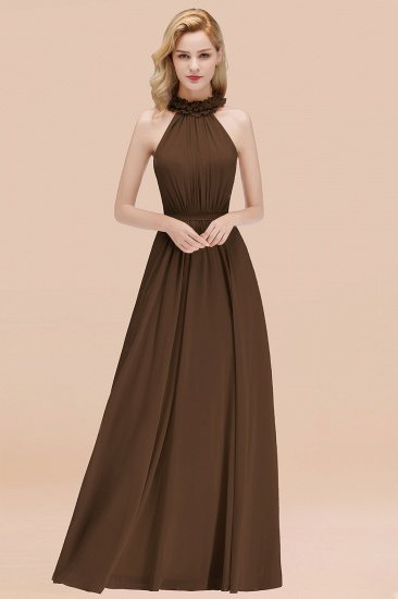 Modest High-Neck Halter Ruffle Chiffon Bridesmaid Dresses Affordable_12