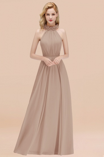 Modest High-Neck Halter Ruffle Chiffon Bridesmaid Dresses Affordable_16