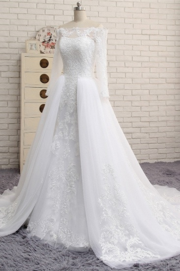 Unique Bateau Longsleeves A-line Wedding Dresses With Appliques White Tulle Bridal Gowns On Sale_4