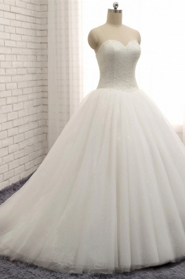 BMbridal Chic Sweetheart Pearls White Wedding Dresses A-line Tulle Ruffles Bridal Gowns Online_4
