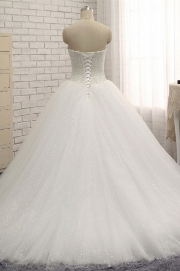 BMbridal Chic Sweetheart Pearls White Wedding Dresses A-line Tulle Ruffles Bridal Gowns Online_3