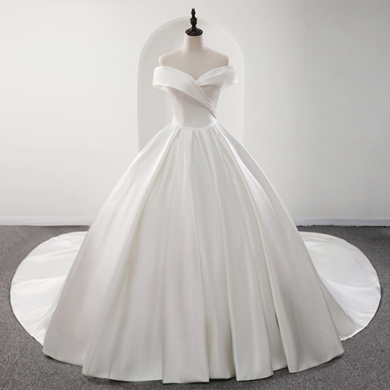 BMbridal Glamorous White Satin Ruffles Wedding Dresses Off-the-shoulder A-line Bridal Gowns Online_7