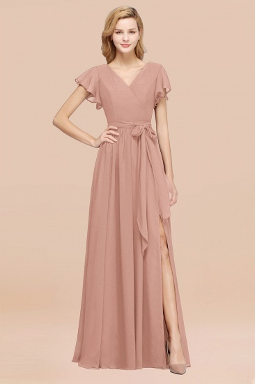 BMbridal Burgundy V-Neck Long Bridesmaid Dress With Short-Sleeves_6