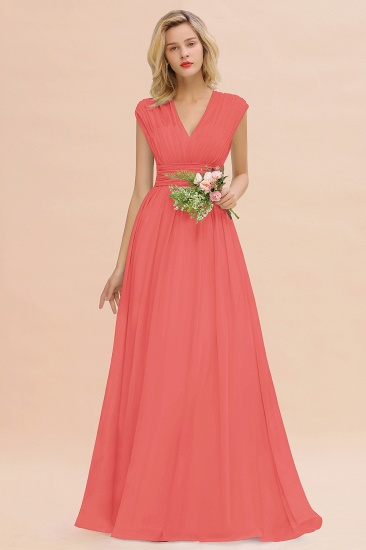 Elegant Chiffon V-Neck Ruffle Long Bridesmaid Dresses Affordable_7