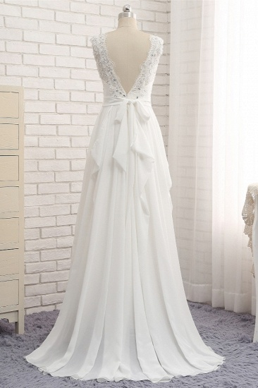 BMbridal Affordable Jewel White Chiffon Ruffle Wedding Dress Sleeveless Appliques Bridal Gowns with Beadings_3