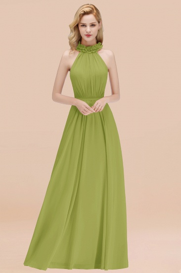 Modest High-Neck Halter Ruffle Chiffon Bridesmaid Dresses Affordable_34