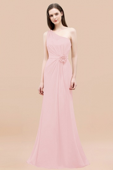 Affordable Mermaid One shoulder Pink Bridesmaid Dresses with Flowers_3