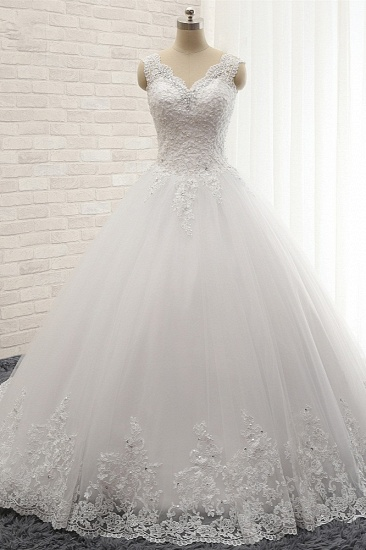 Chic Straps V-Neck Tulle Lace Wedding Dress Sleeveless Appliques Beadings Bridal Gowns On Sale_1