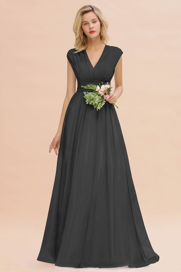 Elegant Chiffon V-Neck Ruffle Long Bridesmaid Dresses Affordable_46