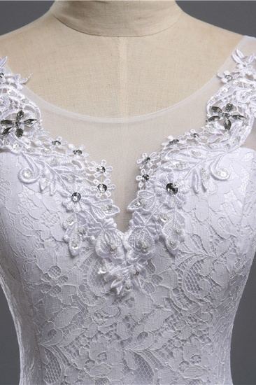 Affordable Jewel Lace Sequins Mermaid Wedding Dress Sleeveless Appliques Bridal Gowns with Crystals_7