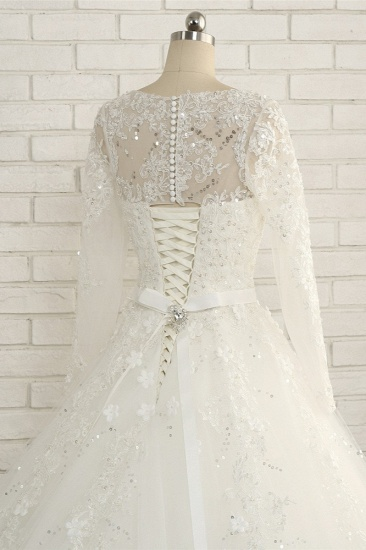 Modest Jewel Longsleeves White Wedding Dresses A-line Tulle Ruffles Bridal Gowns On Sale_6