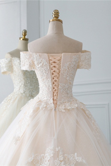 Affordable Off-the-Shoulder White Tulle Lace Wedding Dress Sweetheart Appliques Bridal Gowns On Sale_7