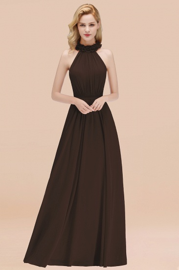 Modest High-Neck Halter Ruffle Chiffon Bridesmaid Dresses Affordable_11