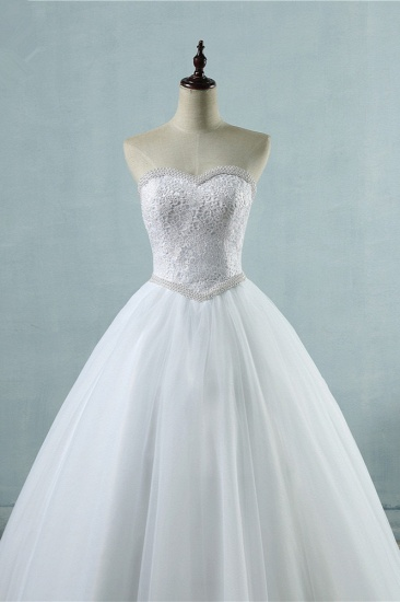 Cheap Strapless Tulle Lace Wedding Dresses Sweetheart Sleeveless Bridal Gowns with Pearls Online