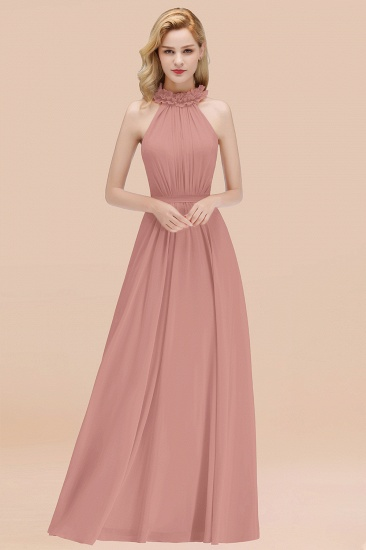 Modest High-Neck Halter Ruffle Chiffon Bridesmaid Dresses Affordable_50