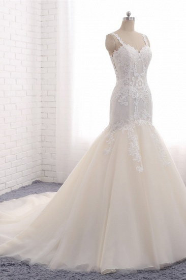 Affordable Strapless Mermaid Tulle Lace Wedding Dress Sweetheart Appliques Bridal Gowns On Sale_4