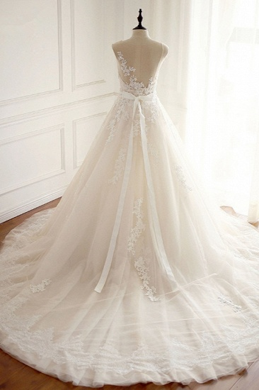 Stylish Jewel A-Line Tulle Ivory Wedding Dress Appliques Sleeveless Bridal Gowns with Beading Sash Online_3