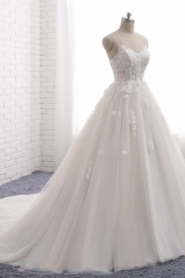 BMbridal Affordable Spaghetti Straps Sleeveless Lace Wedding Dresses A-line Tulle Ruffles Bridal Gowns On Sale_4